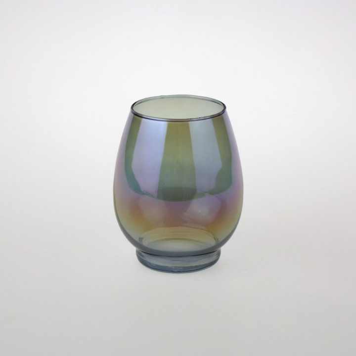CANDLE HOLDER LUCID GREY GLASS 11X14