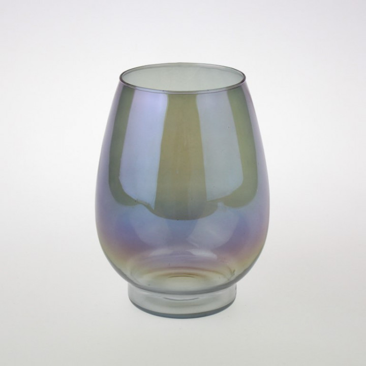 CANDLE HOLDER LUCID GREY GLASS 15.5X19
