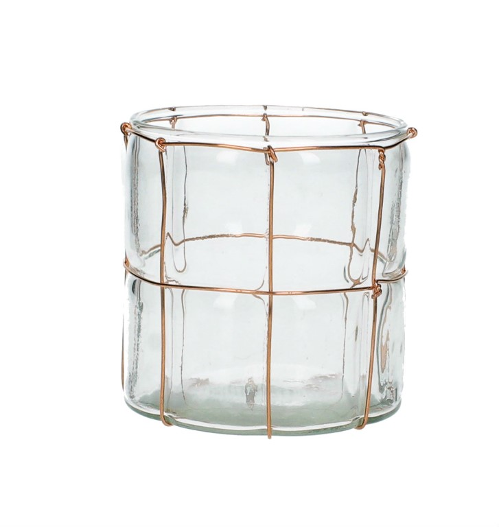 CANDLEHOLDER GLASS COPPER 9X9X9CM