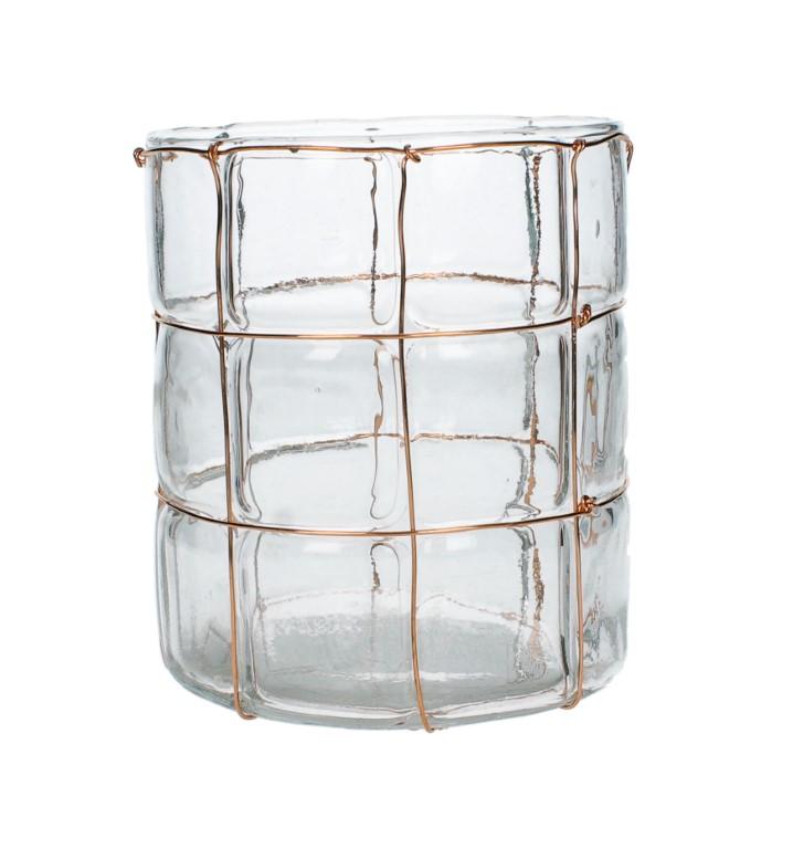 CANDLEHOLDER GLASS COPPER 12.5X12.5X14.5