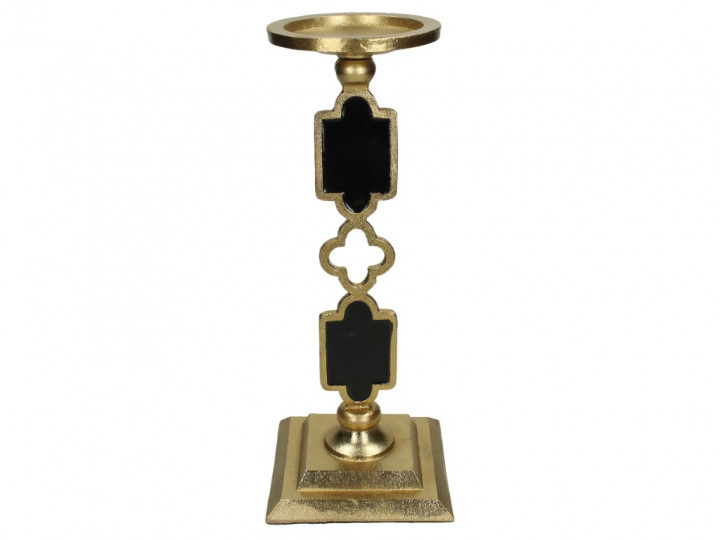 CANDLE HOLDER METAL GOLD 14X14X35.5