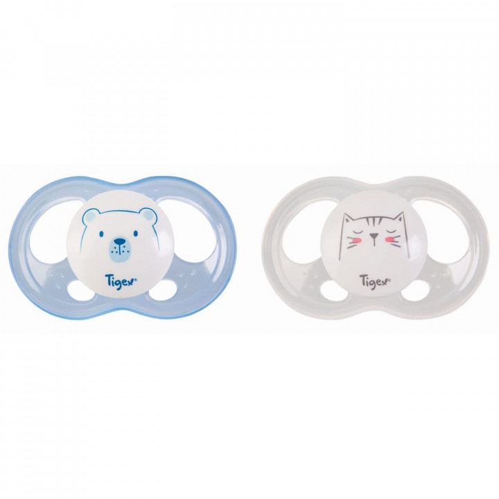 Tigex silicone soothers soft touch 6-18 m boy