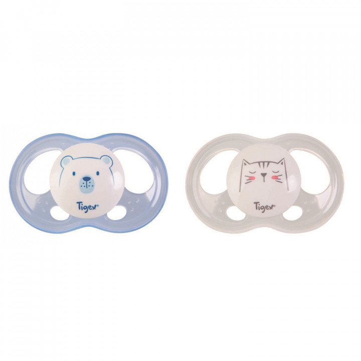 Tigex silicone soothers soft touch 18-36 m boy