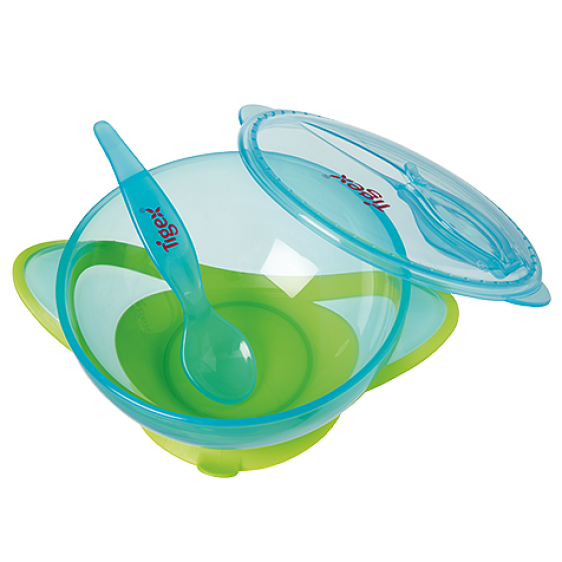 Tigex suction bowl with lid and spoon +6 m boy or girl