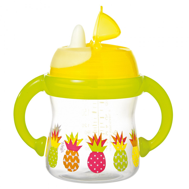 Tigex non spill cup with soft rim and handles 180 ml +6 m yellow green