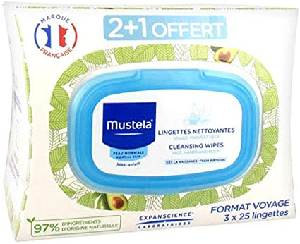 Mustela Normal Skin Cleansing Wipes Travel Size 3 x 25 Wipes