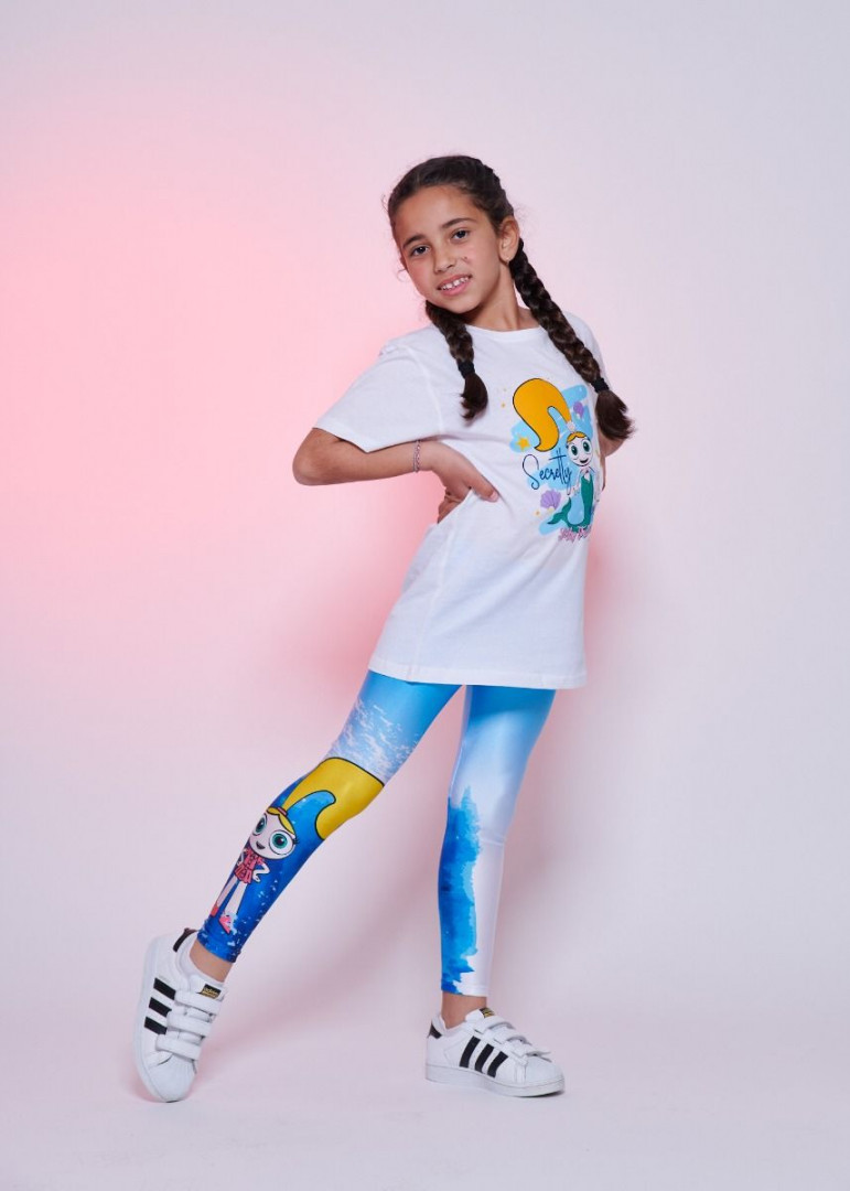 Watercolour Blue Leggings Kids - 10 years