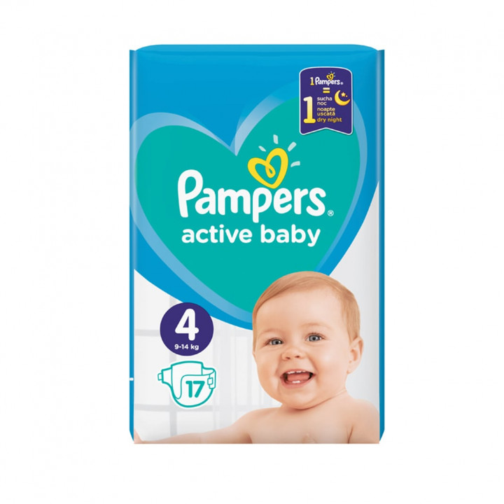 Pampers Active Baby Maxi no4 (17 kg) 17 nappies