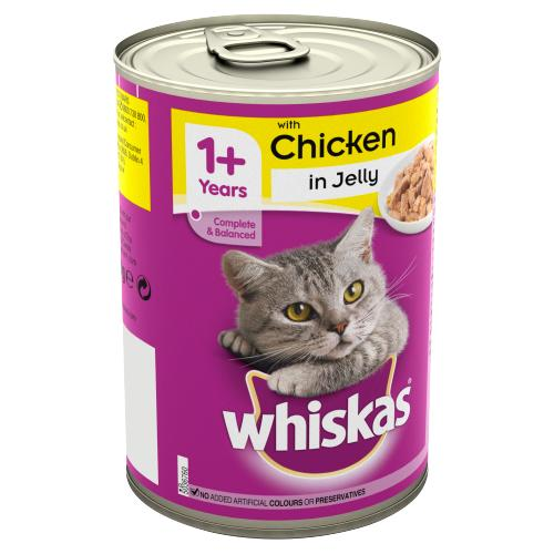 Whiskas Adult Wet Cat Food Tin Chicken in Jelly 390g