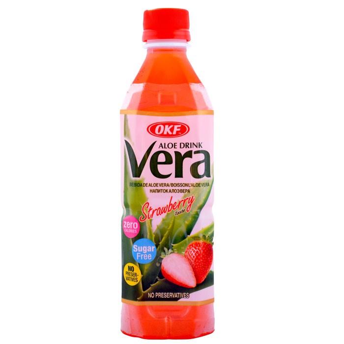 Aloe Vera OKF Zero Sugar Strawberry 500ml