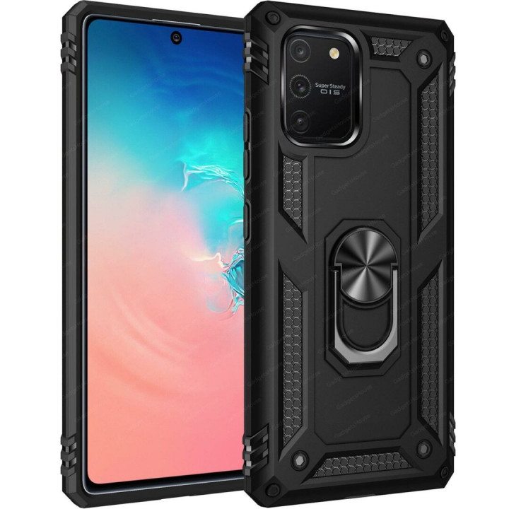 Black Armor Hard Case with stand for Samsung Galaxy S10 Lite