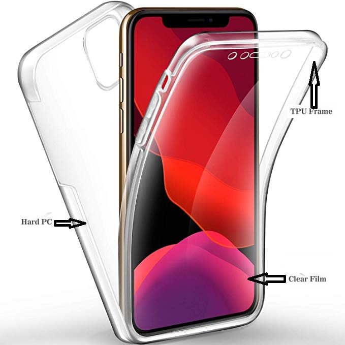 Clear 360 Hard Back+Soft Front Protective Case for iPhone 11 2019 XR 2019