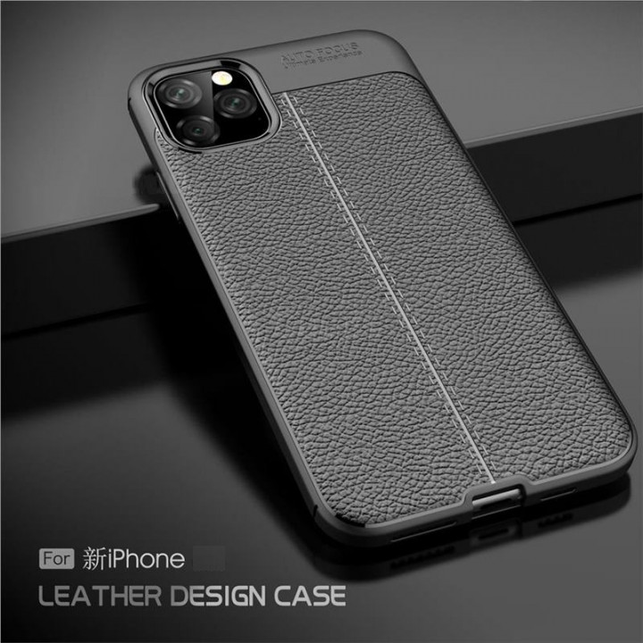 Black Leather Texture Back Cover for iPhone 11 Pro Max