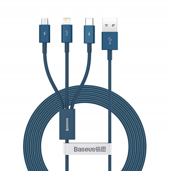 Baseus Cable Superior Series 3-in-1 Fast Charging Data Cable USB to M+L+C 3.5A 1.5m Blue