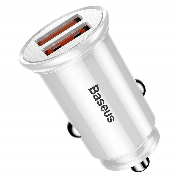Baseus Car Charger Circular Plastic A+A Dual Quick Charge 3.0 30W White