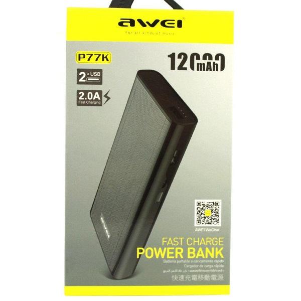 AWEI P77K Power Bank 12000mAh – 2 USB Ports