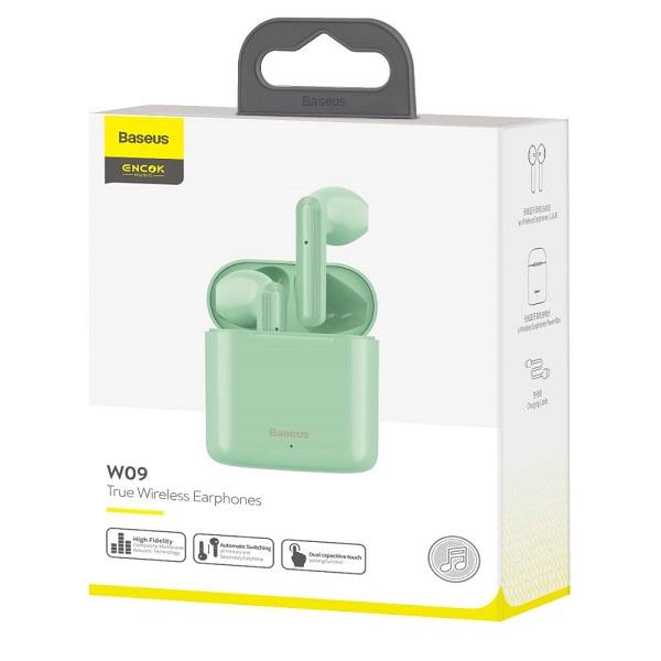 Baseus Earphone Bluetooth Encok W09 True Wireless Green