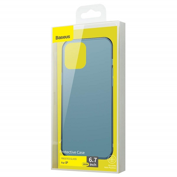 Baseus iPhone 12 Pro Max Case Frosted Glass Navy Blue
