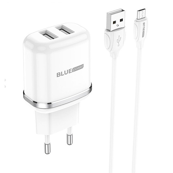Charger Micro USB Cable Dual USB Blue Power 2.4A EU Pin white