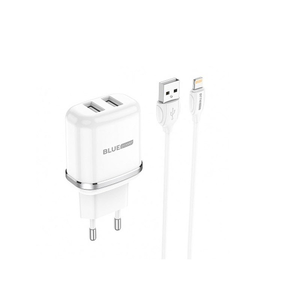 Charger Lightning Cable Dual USB Blue Power 2.4A EU Pin white