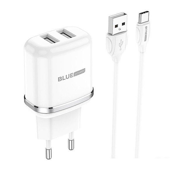 Charger Type-C Cable Dual USB Blue Power 2.4A EU Pin white