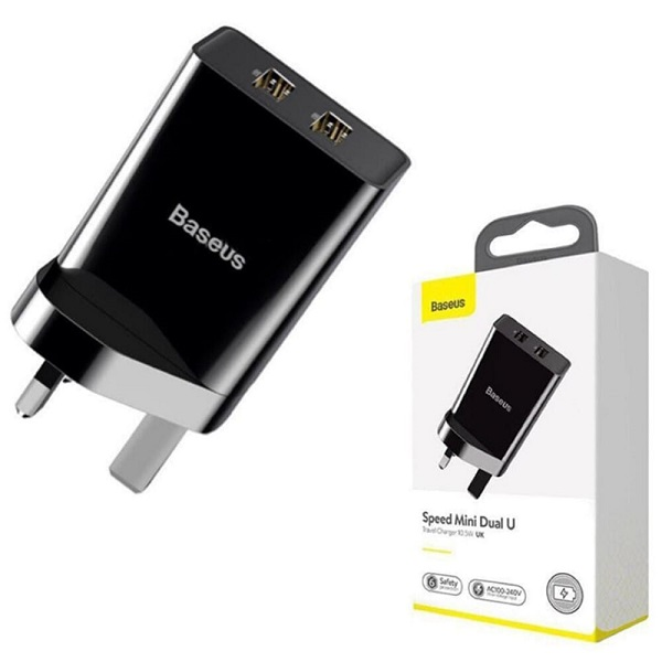 Baseus Speed Mini Dual U Travel Charger 10.5W UK Black