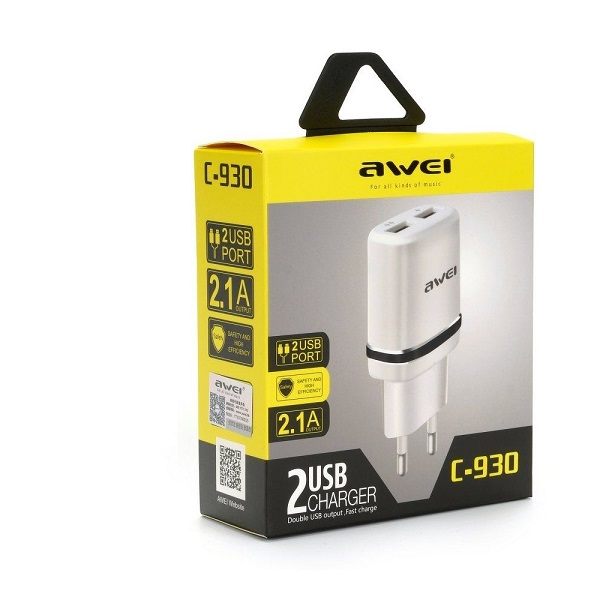 AWEI C-930- 2-USB-2-PIN Charger+Micro USB Cable 2.1A White
