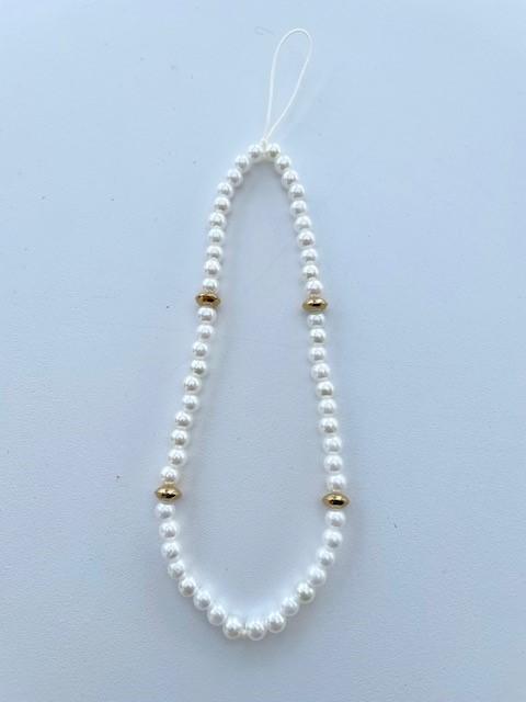 Phone charm - white pearls