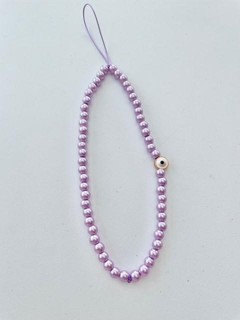 Phone charm - purple pearls