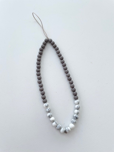 Phone charms - grey and white beads