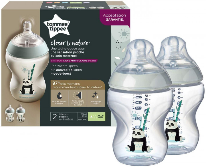 Tommee Tippee 260ML Decorated Bottle Panda x 2