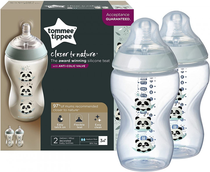 Tommee Tippee 340ML Decorated Bottle Panda  x 2