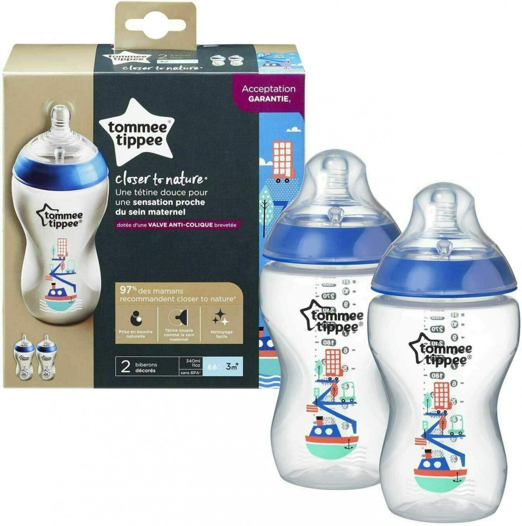 Tommee Tippee 340ML Decorated Bottle Ollie x 2