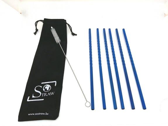SOSTRAW FR/ES 6PCS - BLUE