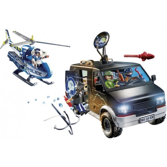 Playmobil City Action Helicopter Pursuit with Runaway Van