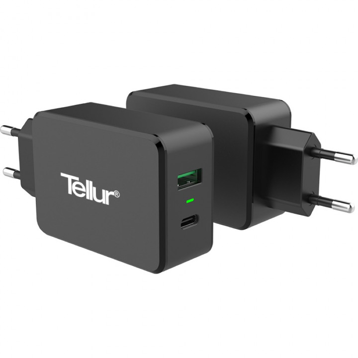 TELLUR wall charger QC 3.0 with two ports 1 USB +1 TYPE C