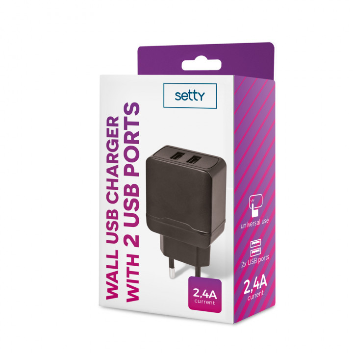 SETTY wall charger MXTC-02 2xUSB Fast Charge 2.4A black