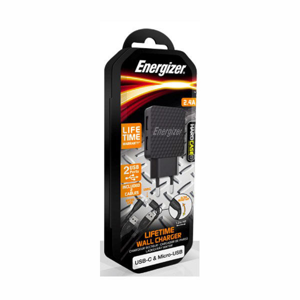ENERGIZER WALL CHARGER LW 2.4A 2USB UK+USB-C2.0 +MCable Bk
