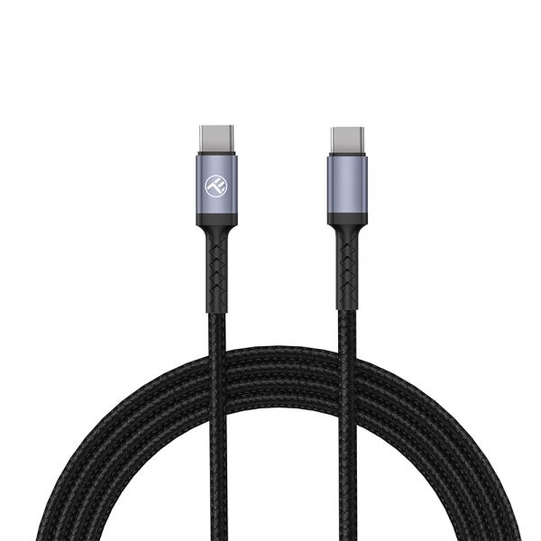 Tellur Data Cable Type-C To Type-C, 3A, PD60W, 1m, nylon, black