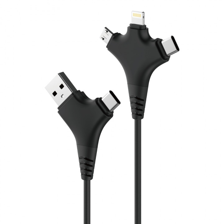 FOREVER ALL IN 1 CABLE USB+USBC WITH MICRO+TYPE-C+ LIGHTNING 1M 2,4A CABLE