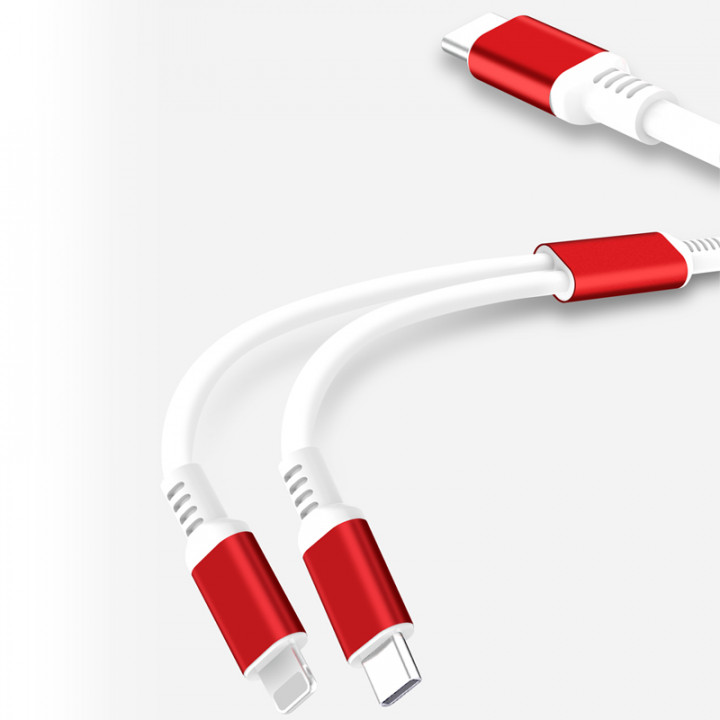 XO cable NB136 2in1 USB-C - Lightning + USB-C 1,0 m 2,4A white-red