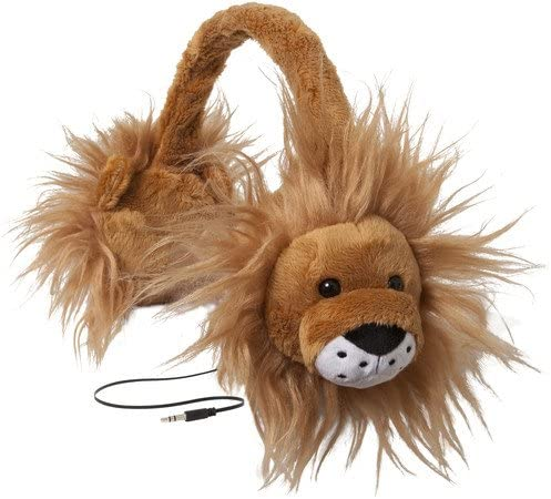 ReTrak Retractable Animalz Tangle-Free, Volume Limiting (85 dB) Over Ear Headphones for Kids, Gold Lion