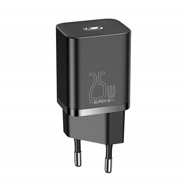 Baseus Travel Charger set Super Si 1C QC (With Mini White Cable Type-C to Type-C 3A 1m) 25W Black