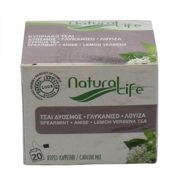 NATURAL LIFE SPEARMINT , ANISE , LEMON VERBENE TEA 20 tea bags