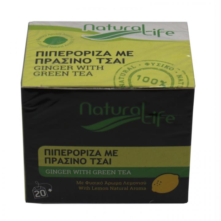 NATURAL LIFE GINGER WITH GREEN TEA 20 tea bags