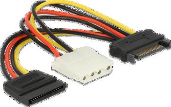 Delock Cable Power SATA 15 pin male > Molex 4 pin female + SATA 15 pin female