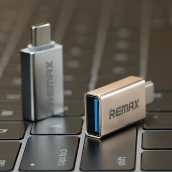 REMAX Type-C to USB Data Charge Adapter with OTG - Gold Color