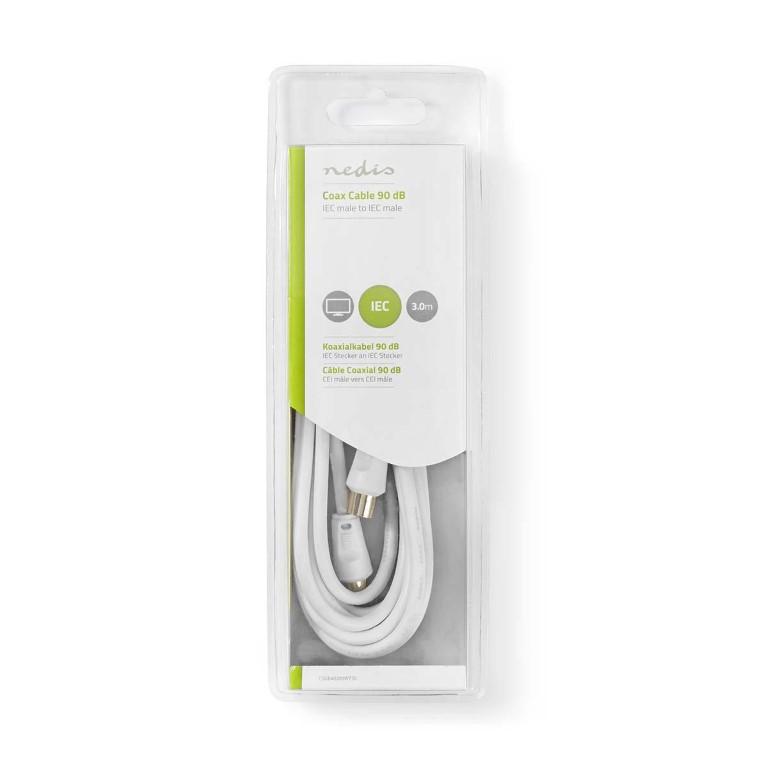 Nedis Coax Cable 90dB IEC (Coax) Male to IEC (Coax) Male 3m White - Καλώδιο κεραίας αρσενικό αρσενικό 3m CSGB40200WT30