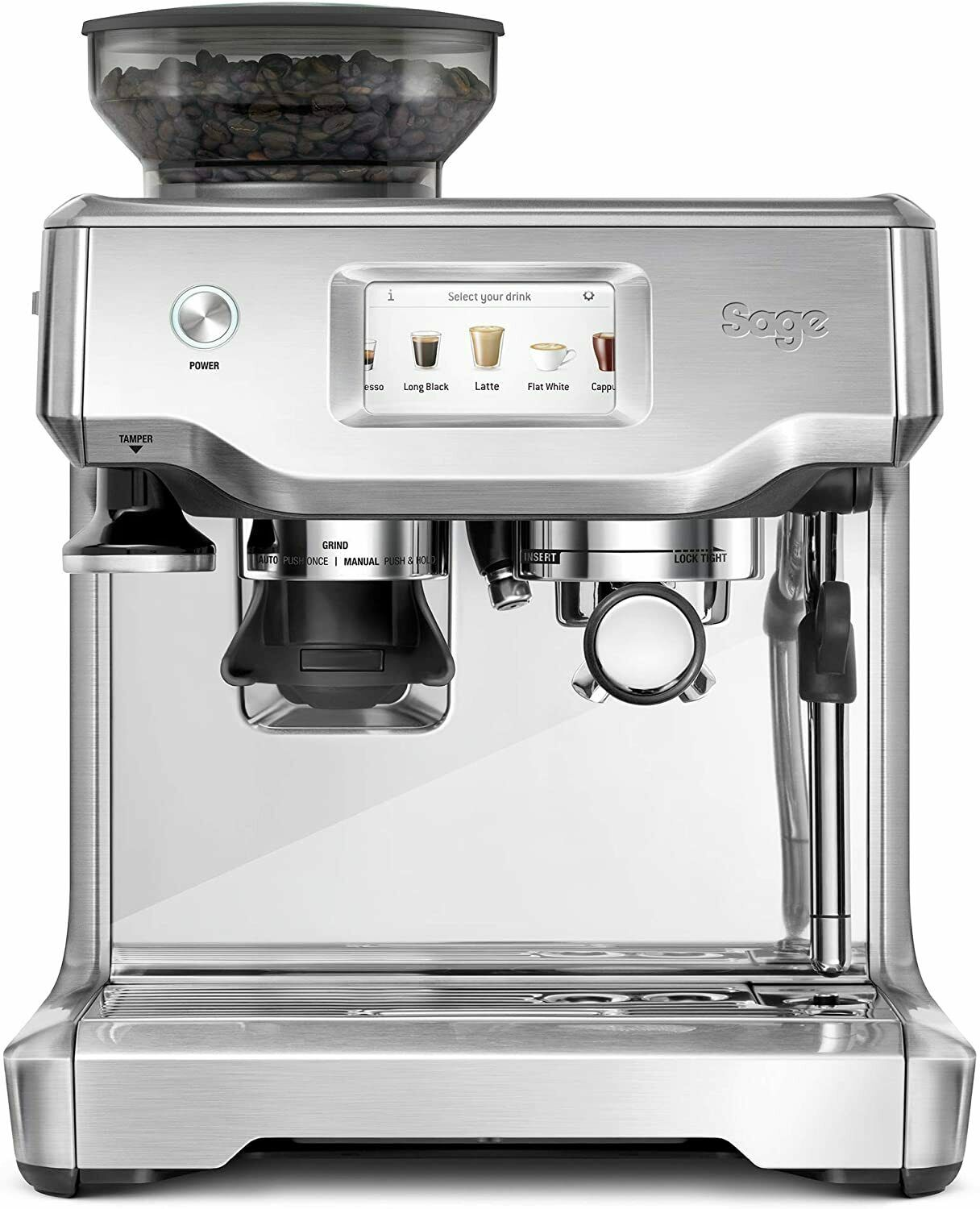 Sage SES880BSS The Barista Touch Semi Automatic Espresso Machine, 1700W, Stainless Steel