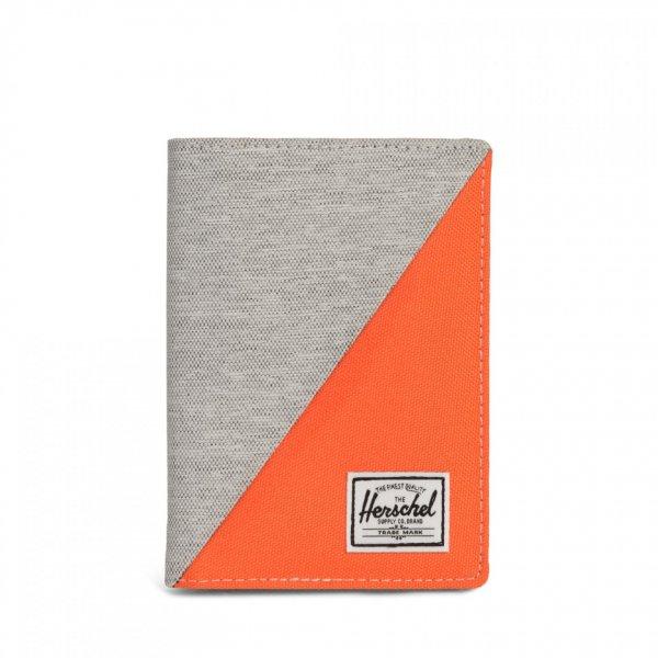 RAYNOR PASSPORT HOLDER LIGHT GREY/VERMILLION